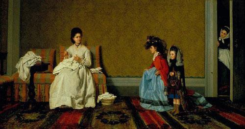 Silvestro Lega,las niñas que juegan a señoras 1872. Óleo sobre lienzo. Instituto Matteuci, Viareggio.