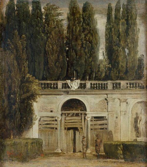 Velazquez,Vista del Jardin de la Villa Médici en Roma,1629-30.Colección Real,48x43cm