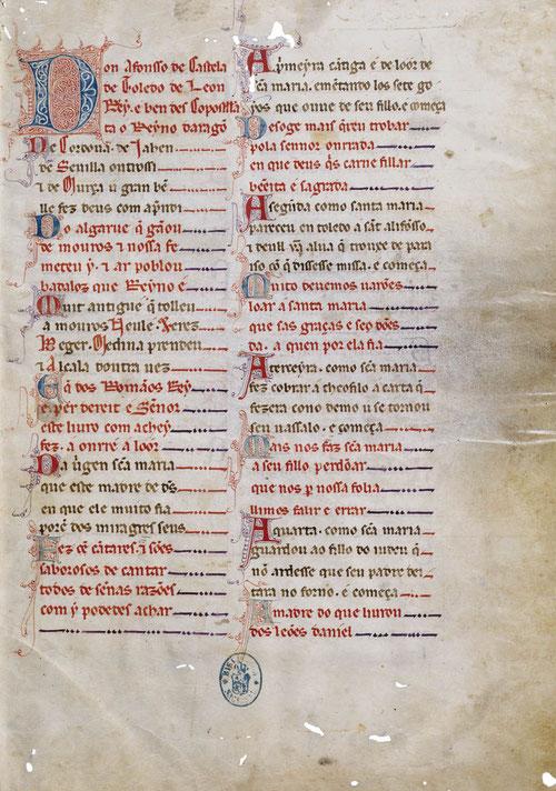 Unico códice de las Cantigas de Sta Mª que no desarrolla miniaturas ilustrativas. Presenta anotaciones y correcciones en los márgenes. Se completa con la decoración de bellas letras iniciales, de las llamadas de filigrana.