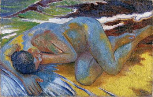 Mijail Larionov, Desnudo azul, 1908.Museo Thyssen. Todo un atrevimiento formal de emblemáticas obras de la vanguardia rusa que apostaron por la conquista erótica.