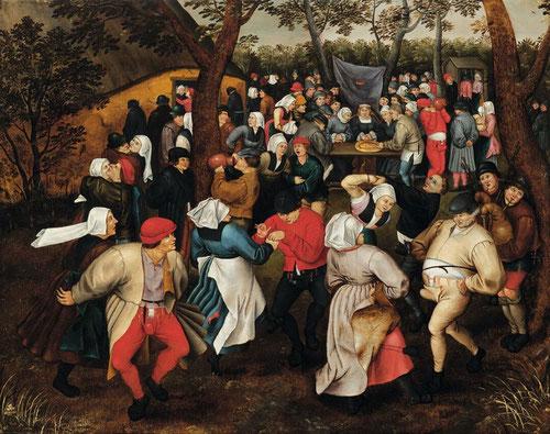 Pieter Brueghel el Joven. Baile de Boda campesina al aire libre.1610.Óleo sobre tabla.74x94cm.Colección privada. Estas celebraciones campesinas son metáforas de la existencia y de una espontaneidad sincera.