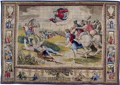 LA CONVERSION DE SAULO.El perseguidor de la Iglesia, armado como legionario  romano cae fulminado del caballo en su camino a Damasco, cegado temporalmente por una visión divina. Rafael Sanzio, Jan Van Tieghem, y Frans Gheetels tapiceros.