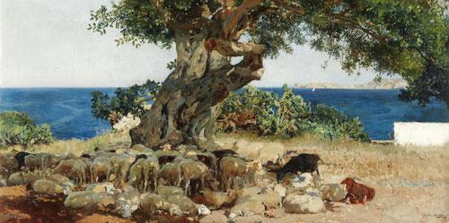 El algarrobo,1898.Óleo sobre lienzo.Colección particular,Estados Unidos.Pintado en Jévea con un fondo de mar bellísimo, descubre el hermoso paraje de la costa levantina.