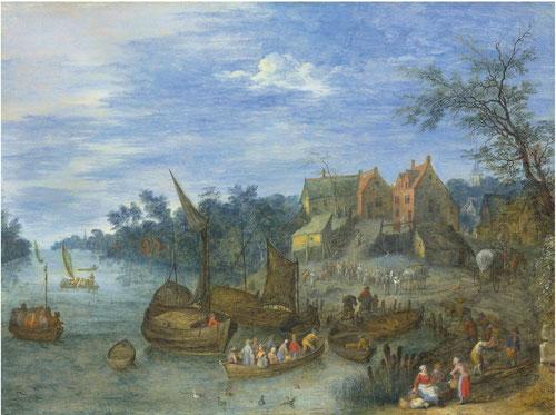 Joseph van Bredael,Paisaje del río.öleo sobre cobre.32x41cm.Colección privada en Amberes.