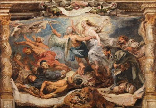 Boceto.Victoria de la Verdad sobre la herejía 1625.Óleo sobre tabla. Museo Nacional del Prado.