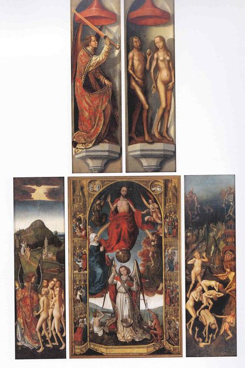 Tríptico del Juicio Final y las obras de misericordia de Van der Stock, hacia 1460 expresión genuina del arte de Flandes.Cristo sedente presencia el Juicio Final mientras san Miguel pesa las almas y condena a justos y pecadores.Arriba Adan y Eva