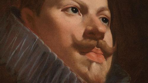Diego Velázquez retrató a Felipe III en 1627. Oleo sobre lienzo 45x37cm.Deposito del Museo del Prado. Mirada desafiante con un punto de vista bajo. Juego de luz en carnaciones tersas y rosáceas, muy barroco