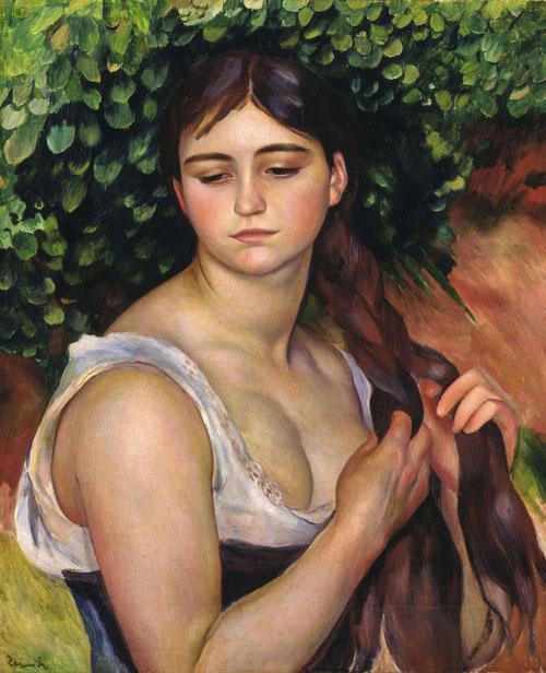 """La trenza,1886-87.Óleo sobre lienzo.57x47cm.Baden,Museum Langmatt. La cabellera de la mujer designado como objeto de deseo, Renoir se atribuye todos los derechos de propiedad, prohibía cortar el cabello a sus hijos..""""La debilidad femenina era el peinado""""."""