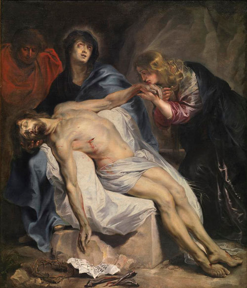 La Lamentación. Van Dyck. Museo del Prado. Óleo sobre lienzo.203X170cm Atribuido a Rubens en fechas tempranas.Claras referencias eucarísticas,el cuerpo de Cristo esta presente por su carne y su sangre, transubstanciados,dogma establecido en Trento.