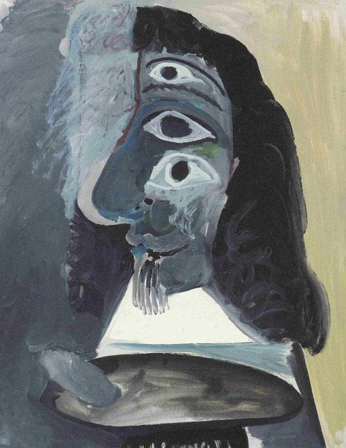 Busto de un pintor,Mougins,mayo 1967.Óleo sobre lienzo 92x73cm.Coleción particular.