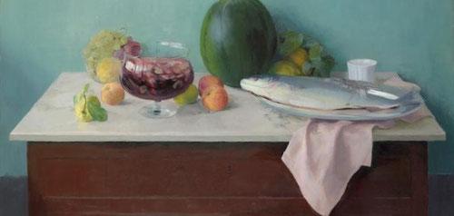 """Maria Moreno,Naturaleza muerta con sandía,1990.Óleo sobre lienzo.107x114cm.Colección privada.La naturaleza muerta es el escenario por excelencia de los realistas""""Ese modo peculiar de explorar lo humano oblícuamente a través de sus vestigios"""""""