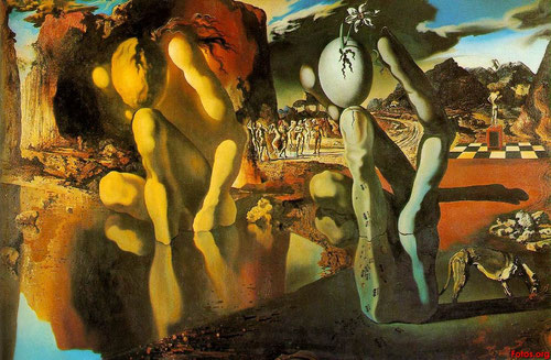 Dalí,Metamorfosis de Narciso,1937.Freud identifica el narcisismo como estado crítico de la personalidad,fuente de esquizofrenia,da paso a una mano suerando la neurosis,que Dalí relaciona con el pan eucaríatico (el huevo) -Conferencia de Sorbona en 1955-