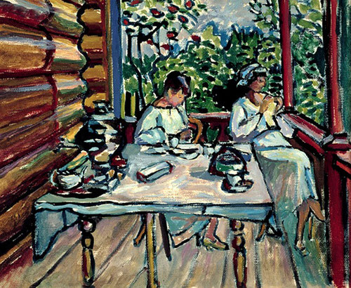 Akhtyrca.Nina y Tatiana en la varanda,1917.27x33cm.Legado de Nina Kandinsky.La revolución rusa le hace romper con con sus obras de Munich, vuelve al caracter romántico.