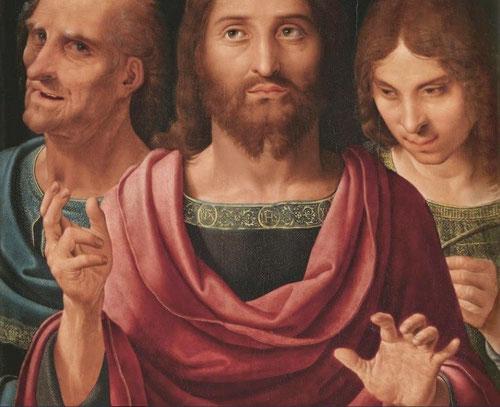 Yañez de la Almedina. Impresiona sobre manera  el escorzo virtuoso de la mano de Cristo, fruto de su formación italiana.Gran profundidad y perspectiva con la colocación de figuras en planos distintos.