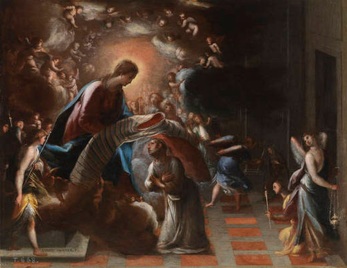 Eugenio Cajés,la imposición de la casulla a San Ildefonso, hacia 1600.Óleo sobre tabla.40x51cm.Perteneciente al banco de un retablo.