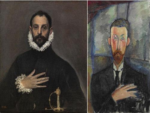 Derecha MODIGLIANI, Paul Alexandre ante una vidriera,Musée de Beaux Arts en Ruan,1913 con una elegante estilización de rostro junto a su referente inmediato,El caballero de la mano en el pecho del Greco,1580,M.Prado.Madrid.