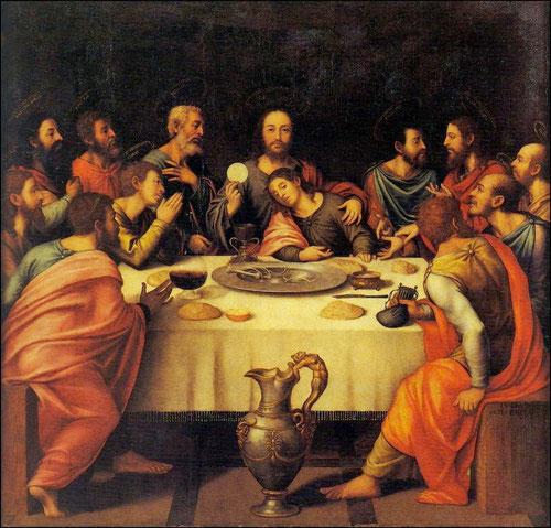 Última cena de Juan de Juanes, SXVI,Museo de la Catedral de Valencia.Otorga una dimensión eucarística al tema, mientras Judas introduce en la mesa las monedas de la traición.Cristo con la réplica del cáliz, instituye la Eucaristía.