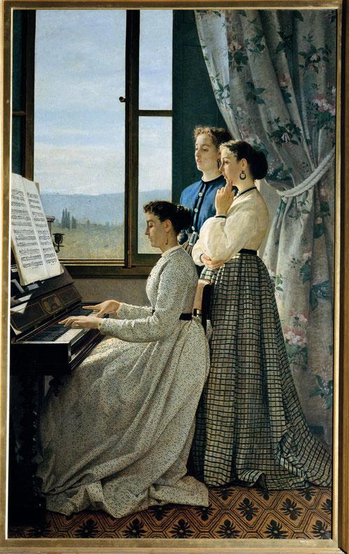 Silvestro Lega,el canto de una copla.1867.Palazzo Pitti,Florencia.Tres jóvenes en plena ejecución con ricas referencias al pasado, se convierte en símbolo de valores laicos de la burguesia.