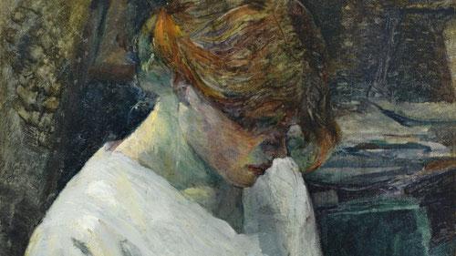Toulouse Lautrec.La pelirroja con blusa blanca, 1889.Óleo sobre lienzo 60x50cm.Museo Thyssen.Mujeres de la calle, de toda gama con rostros frescos o maltratados,pinceladas empastadas a veces puntillistas..