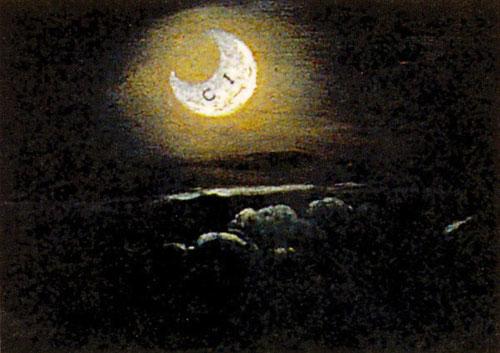 """Detalle del paisaje oscuro a la izquierda de Lucina Brembati, donde aparece la luna creciente con la inscripción """"CI"""", formando un criptograma LUCINA"""