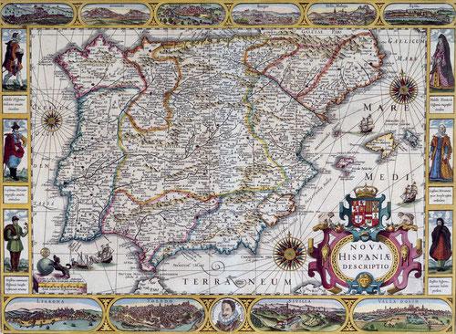 Este es el primer mapa orlado por todos sus lados de España. Se puede fechar entorno a 1610.