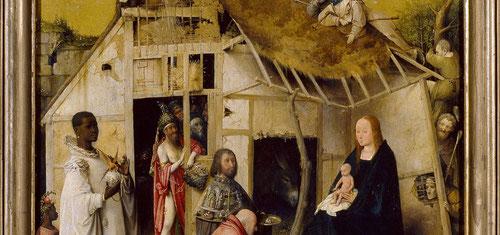 María sostiene a Jesús en su regazo,las figuras de los Magos bien delineadas,serenas y sus acompañantes en el interior de la cabaña.En sus trajes y ofrendas incluyen dos escenas del Antiguo Testamento,la Biblia de los pobres y  visita de la reina de Saba.