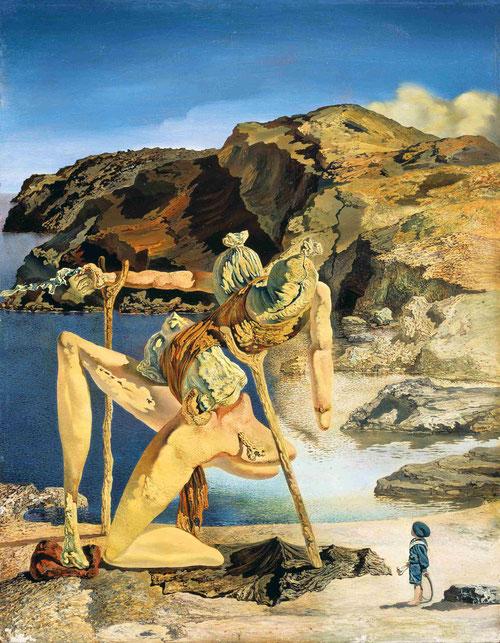 Dalí, el espectro del sex-appeal,1934.La posición del Edipo es similar al de Ingres en el Luovre,pero aquí invierte los papeles.Mientras él se representa como niño vestido de marinero, minúsculo ante ante esa fobia femenina.Sorprende paisaje de cabo Creus