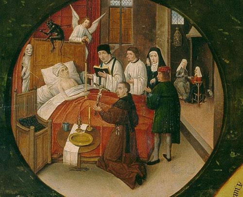 La muerte acecha al enfermo símbolo de la calavera tras el dosel de la cama, mientras recibe la Unción de enfermos y las mujeres rezan al fondo de la estancia.El fraile le muestra el crucifijo ante el demonio y un ángel que esperan el trance final.