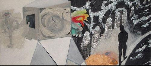 """Bob Smith (1944-1990) Gorps 1990.Acrílico sobre lienzo.""""La vida es un concurso de popularidad"""""""