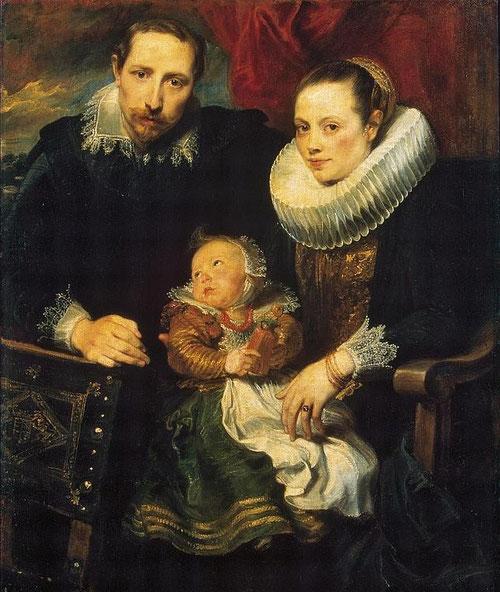 Van Dyck.Retrato de una familia.1620.113X93cm.San Petersburgo.Museo del Hermitage Así contribuye a la renovación del retrato flamenco tradicional, composición veneciana a base de densos empastes aunque cierto desequilibrio entre espacio-figura.