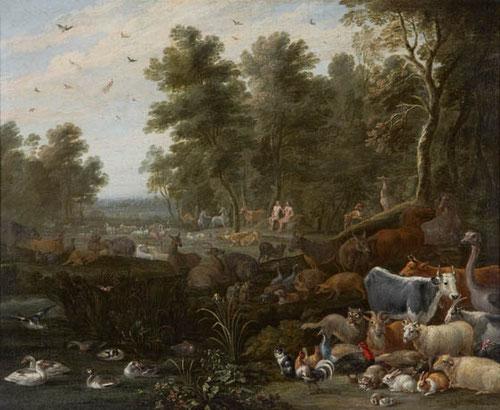 Jardín del Aden,David Teniers el joven,1685.Colección BBVA, Uno de los pintores mas importantes de la escuela flamenca del XVII.Sus pinturas encontraron gran acomodo entre la nobleza.
