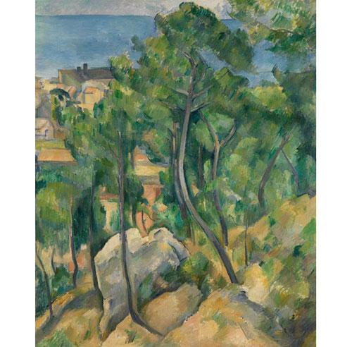 L´Estaque.Pinos y mar.1883-85.Óleo sobre lienzo.100x81cm.Staatliche Kunsthalle Karlruhe. Bosques estremecidos, todas las gamas del verde, follajes profundos,verdores lánguidos...