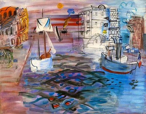 Puerto con velero, homenaje a Claudio Lorena, 1935, Museo de Arte Moderno de la Villa de Paris.Testimonia en este homenaje al gran paisajista, la imagen cultural de Francia con este paisaje reinventado.