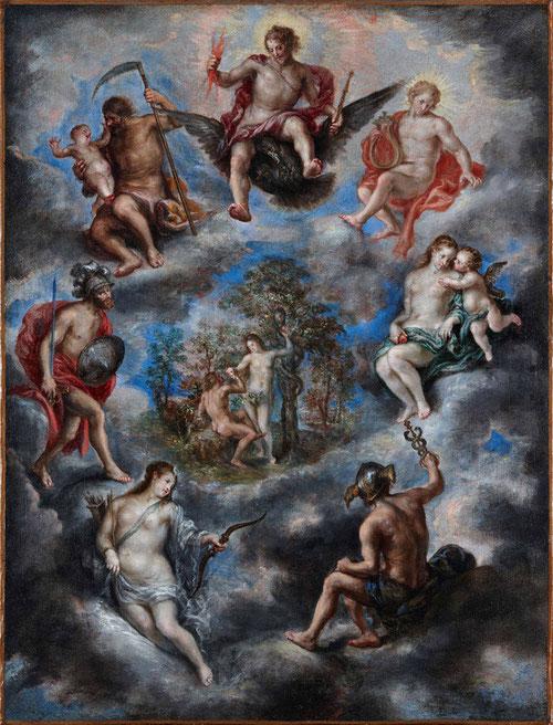 Adán y Eva y alegoría de los planetas.Francisco Camilo,1641.Cielo intenso donde Adan y Eva comparten Paraiso con los dioses de la mitología clásica,simboliza la alegoria del sistema planetario de Ptolomeo, dispuestos en órbita en torno a la tierra,.