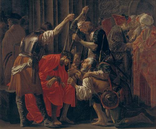 Hendrick ter Brugghen.Cristo coronado de espinas 1620.Óleo sobre lienzo 207x240cm.Copenhague Museum.