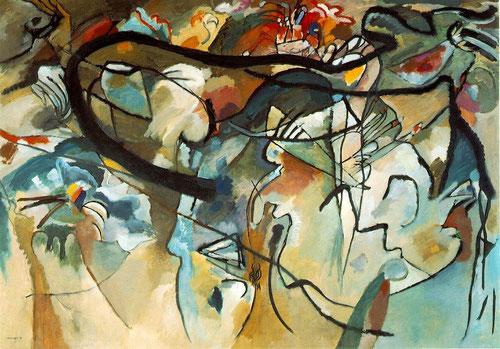 """Formas coloreadas se agolpan en la superficie de este """"Cuadro con arco negro"""".Óleo 198x189cm.Musée National d´Art Moderne, Centre Georges Pompidou, Paris.Con Kandinsky la pintura deja de rendir cuentas ante el mundo visible."""