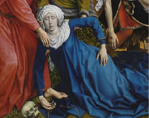 La intensidad del cromatismo azul del manto de María, cuyo cuerpo repite en simetría el de su Hijo.El abrumador encuentro del dolor humano, que los cristianos sabemos que en la esperanza fuimos salvados, que la muerte no es el final del camino.