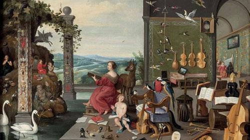 """Brueghel el Joven.Alegoría del Oído.57x82cm.Col.privada.Análisis pormenorizado de los instrumentos de música de época, de viento, cuerda y percusión, destacan las violas de""""braccio"""" y """"gamba"""",los pájaros con su bello canto y Eutéperes diosa de la música."""