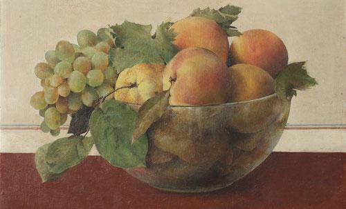 Isabel Quintanilla.Frutero 1966¨´Oleo sobre tabla.29x38cm.Colección privada.
