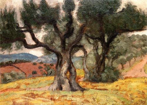 Aristide Maillol.Los olivos 1895.Óleo sobre cartón.36x48cm.Colección particular.Siuza.