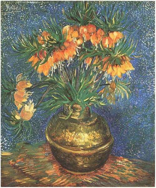 Van Gogh.Fritillaires.Couronnes impériales.1887. Del rojo al amarillo anaranjado poderosamente expresivas que insuflan vida.Emplea el puntillismo de manera expresiva y dinámica.