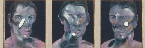 FRANCIS BACON (1909-1992) Tres estudios para un retrato de Peter Beard. Fotógrafo famoso del continente africano.Este triple rostro de su amigo, quien consideraba un visionario, ambos desconfiaban de la especie humana .El hombre es pequeño como la célula.