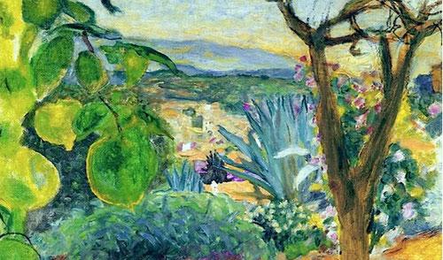 Pierre Bonnard.Le Cannet 1930.Óleo sobre lienzo,64x82.Fondation Bemberg.Toulouse.El color vibrante de la finca que adquirió como último refugio,un hechizo de paisaje de incandescentes colores vibrantes donde el color prevalece a la línea.
