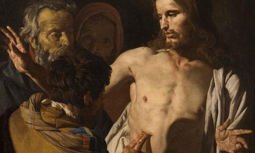 Matthias Stom.La incredulidad de Sto Tomas.1641.Óleo sobre lienzo 125x99cm.Museo del Prado. Miradas incredulas con una estética realista muy vigente en los Países Bajos.