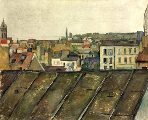 Tejados de París 1881-82,óleo sobre lienzo, 59x73cm.Col.privada.Secuencia de planos alternos horizontales y verticales del esquema table-top configurando una gran escalinata que empuja nuestra mirada hacia arriba.