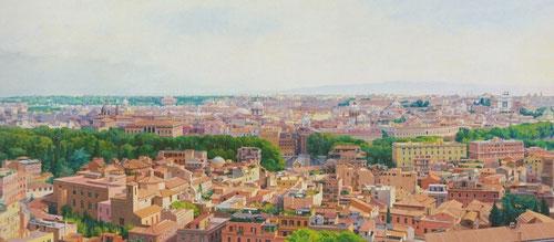 Isabel Quintanilla,Roma 1998-99.öleo sobre lienzo adherido a tabla.135x220cm.Galerie Berlin,Hamburgo.Donde el horizonte y el espacio abierto tiene un carácter simbólico, delimita el campo visual del hombre, y lo enraiza en el espacio.Línea cielo-tierra.