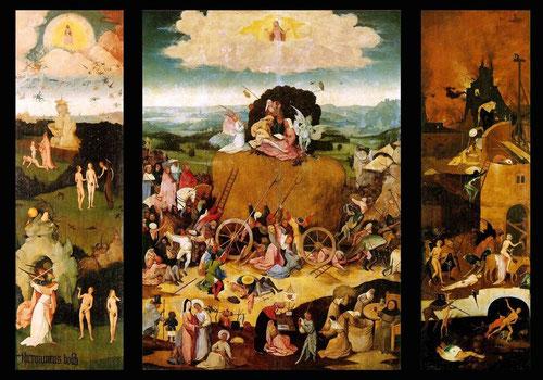 """El Bosco, Carro del heno,1515. Óleo sobre tabla 147x212cm.Su código  moral alude al pecado, todavía vigente 5 siglos despues, basado en un dicho popular flamenco""""El mundo es como un carro del heno y cada uno coge lo que puede""""El heno simboliza la ambición"""