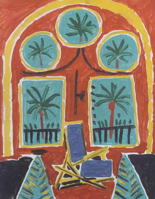 La Californie.Picasso.Interior con hamaca azul.Cannes 1958.Óleo sobre lienzo.41x33cm.Colección particular.