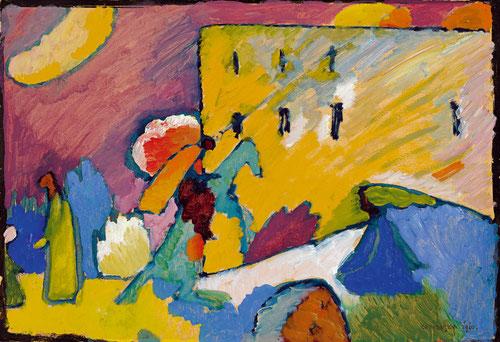 """Improvisación III,1909.Óleo sobre lienzo.A 60km de Munich él y su pareja Gabrielle Munter descubren el pueblo de Murnau y fundan """"Nueva Asociación de Artistas de Munich""""La pintura religiosa en vidrios con contornos negros, fondo plano de colores luminosos"""