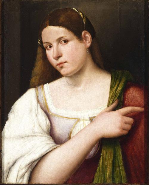 Sebastiano di Piombo.Retrato de una mujer,1508.Óleo sobre tabla.52x43cm.Budapest Museum. Su rostro y carnaciones, si bien coinciden con la literatura de Petrarca, no tiene brillo en sus cabellos,estaría a medio camino entre retrato real e idealizado.